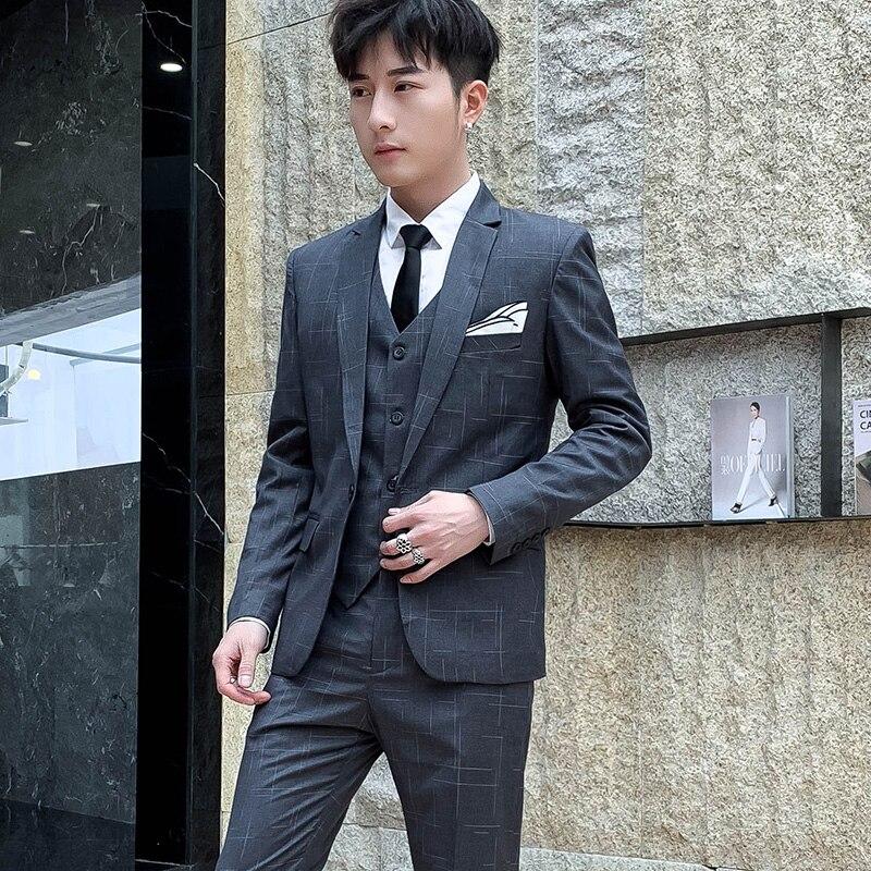Новинка 2019, мужские костюмы, костюм джентльмена в британском стиле (Блейзер + жилет + брюки), полосатый высококачественный модный костюм с пр... - 3