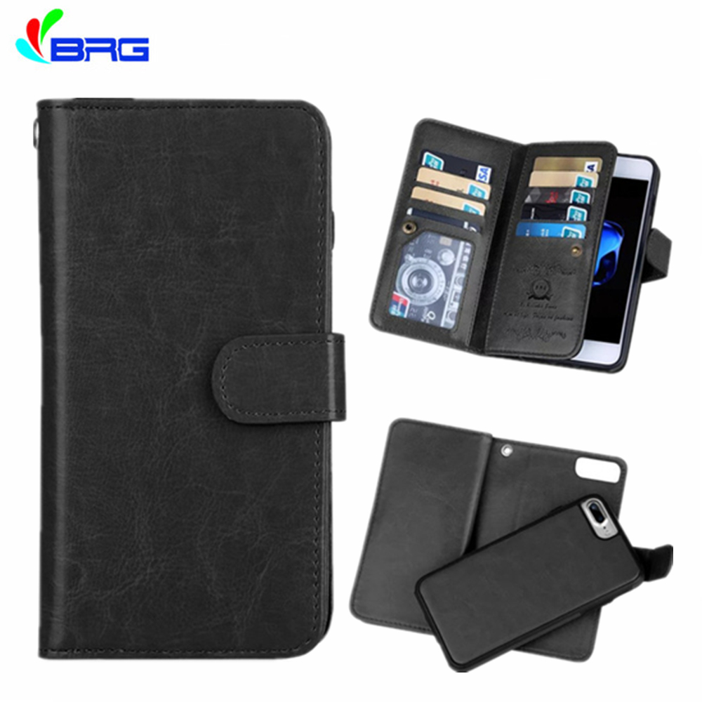 For iphone 5S 6S 7 8 Plus Multifunctional Flip Wallet Leather Case For 11 Pro XS Max XR Magnetic Detachable 2 in 1 9 Cards Slot