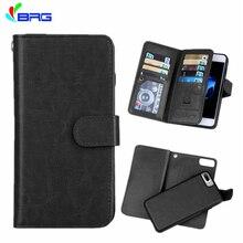 Para o iphone 12 6s 7 8 plus multifuncional flip carteira caso de couro para 11 pro xs max xr magnético destacável 2 em 1 9 cartões slot