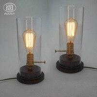 Jahrgang Industrielle Kupferbasis Edison Tischlampe Café Schreibtisch Licht Glas Lampenschirm Holz Licht Schlafzimmer Nacht Ligthing