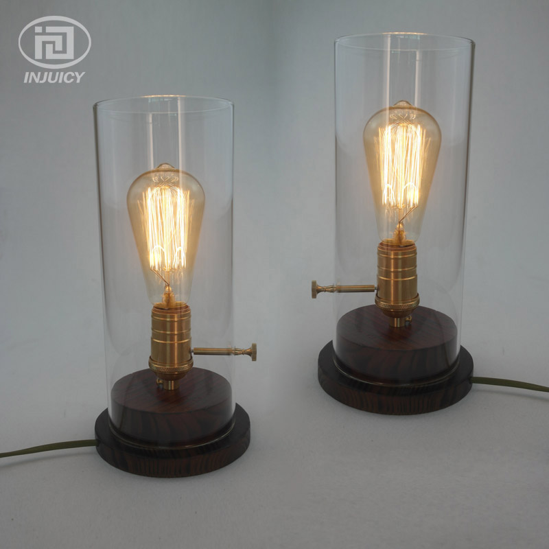 Vintage Industrial Copper Base Edison Table Lamp Coffee Shop Desk Light Glass Lampshade Wood Light Bedroom Bedside Ligthing indoor brief solid oak wood textile desk lamp fabrics lampshade table light bedroom bedside warm lampara night light luminaria