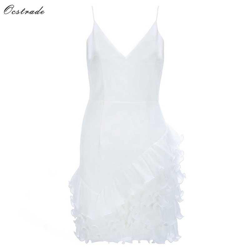 Ocstrade blanc col en V sans manches Mini dentelle Sexy robe moulante HB5575-White