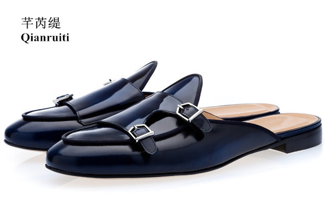 d97ddf6e3dc Qianruiti Men Navy Blue Buckle Shoes Slip-on Mules Hand-polished Loafers  for Men