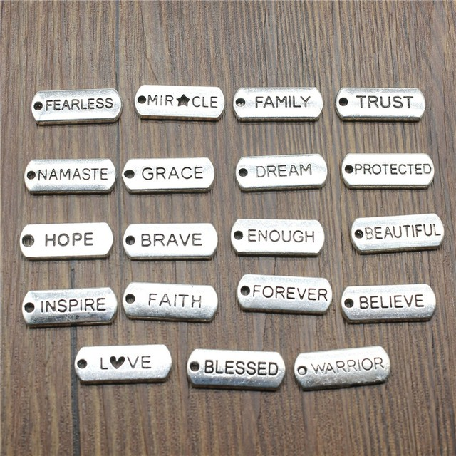 15pcs lot word tags pendant charms antique silver color blessed
