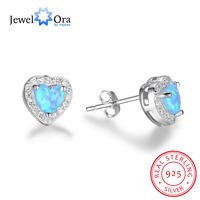 Classic Heart Shape Blue Opal Stone Stud Earrings 100 925 Sterling Silver Fashion Jewelry Gift For