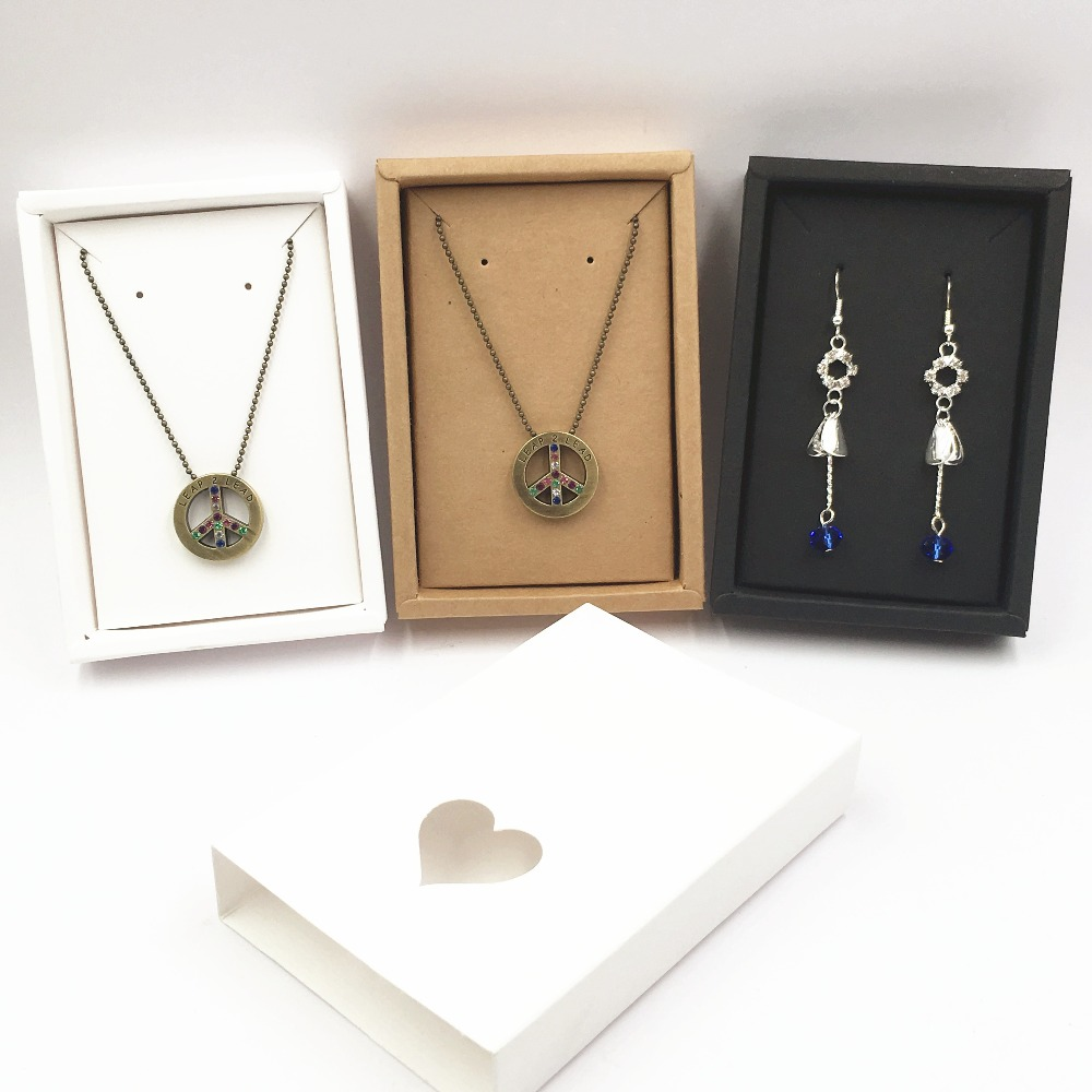 20 Sets/Lot Heart Shaped Window Drawer Box With Inner Card Necklace Earrings Card Love Jewelry Gift Matching Box New Fashion