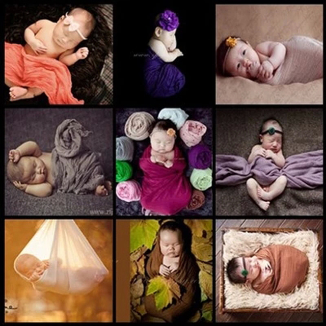 Cheesecloth Infant Newborn Photo Props Photography Wrap Maternity Wrap Baby Maternity Prop 50*180cm Photo Blankets 19 Colors