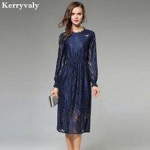 Autumn Long Sleeve Hollow Blue Lace Dress Robe Femme Ete 2018 Kleider Damen Elastic Waist Midi Woman Dress Jurken K901260