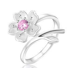 1PC Hot Pink Purple Cherry Blossoms Crystal Flowers Adjustable Rings For Women Girls Finger Decoration Ring Jewelry