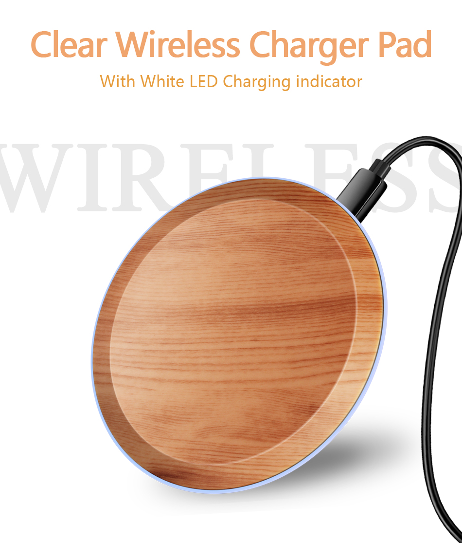CinkeyPro Wood Wireless Charger Pad with LED Light 5W Charging for iPhone 8 X Samsung XiaoMi Charge Mobile Phone USB QI Device 1