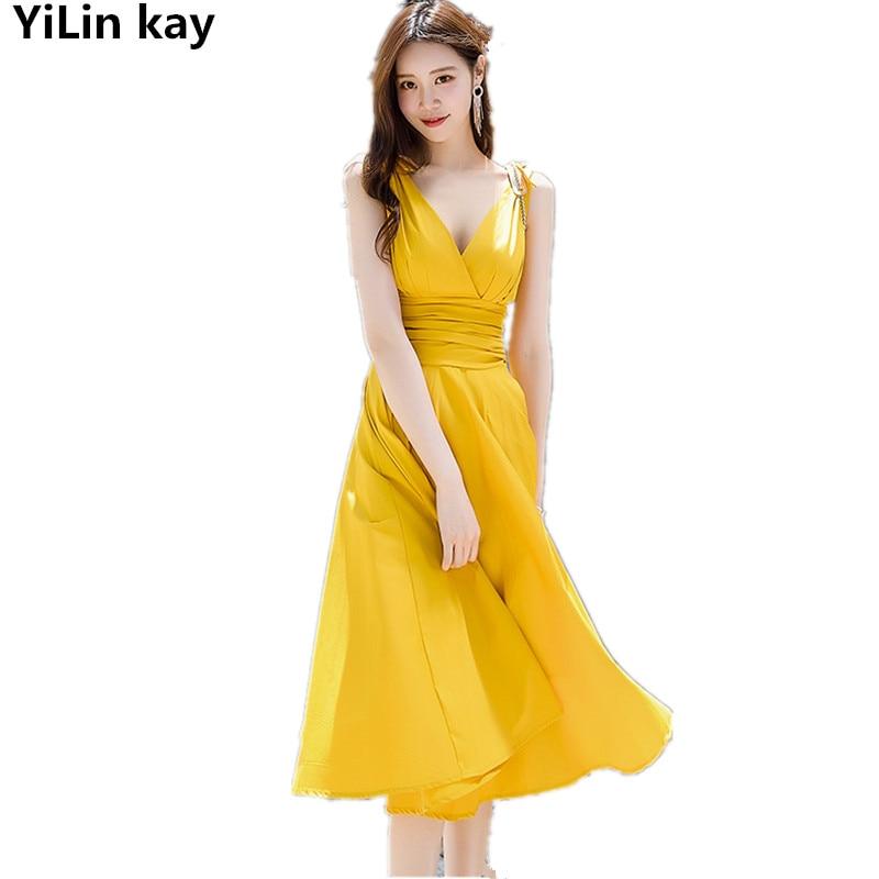 YiLin kay High Quality Fashion Designer Runway Dress 2019 Summer Women V neck sexy pleated sleeveless