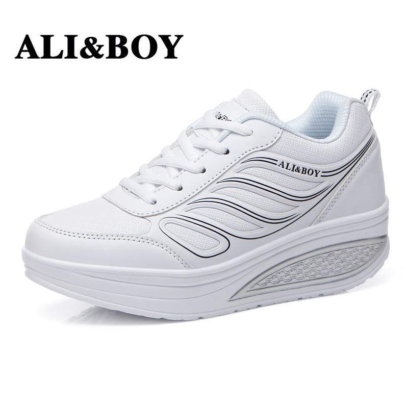 ALI&BOY PU Leather 2017 Women's Running Shoes Platform Slimming Shoes Ladies Wedges Swing Women Sport Shoes White Sneakers Woman