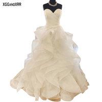XGGandXRR Ball Gown Wedding Dress Ruffle Sweetheart Organza Bridal Gown Sexy Backless Sweep Train White Plus