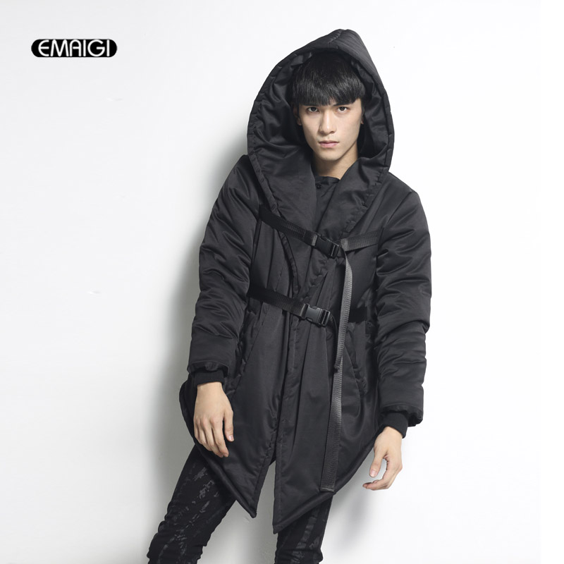 Winter New Men Hooded Casual Cotton Padded Jacket Fashion Warm Male Long Strap Thicken Jacket Parkas Overcoat hijklnl 2017 new winter female cotton jacket long thicken coat casual korean style women parkas overcoat hyt002