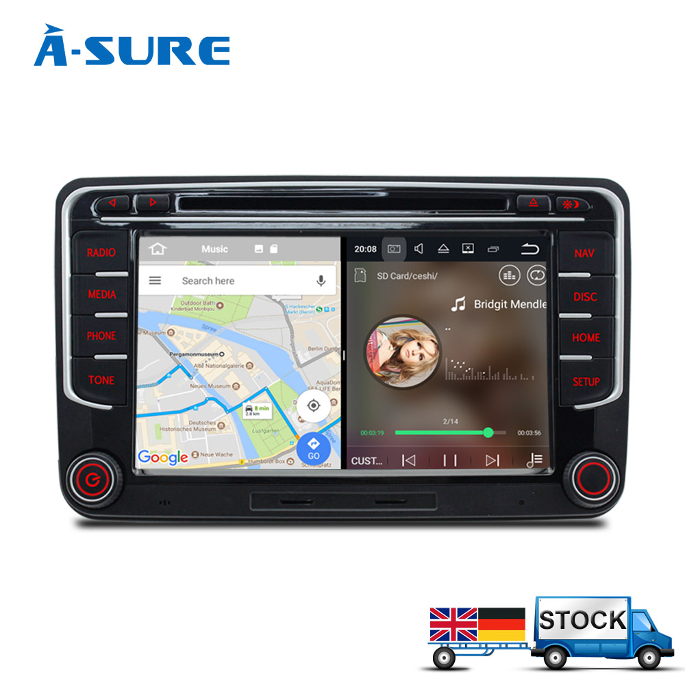 A-Sure Android 7.1 Car DVD player for Volkswagen VW Tiguan Polo Golf 5 6 Passat B6 Jetta Transporter T5 GPS DAB+Mirror Link 8 inch 2 din car dvd for volkswagen vw golf 4 golf 5 6 touran passat b6 sharan jetta caddy transporter t5 polo tiguan with gps
