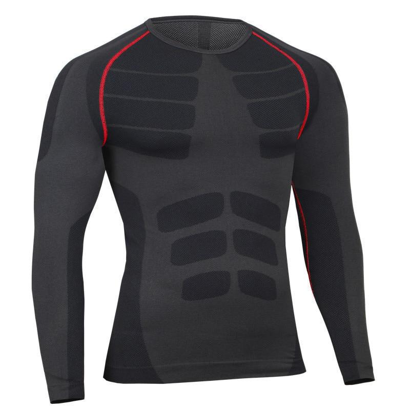 Moške Fitness Body Shaper Kompresija Majica z dolgimi rokavi Elastična Quick Dry Crossfit Bodybuilding Dihalna moška majica