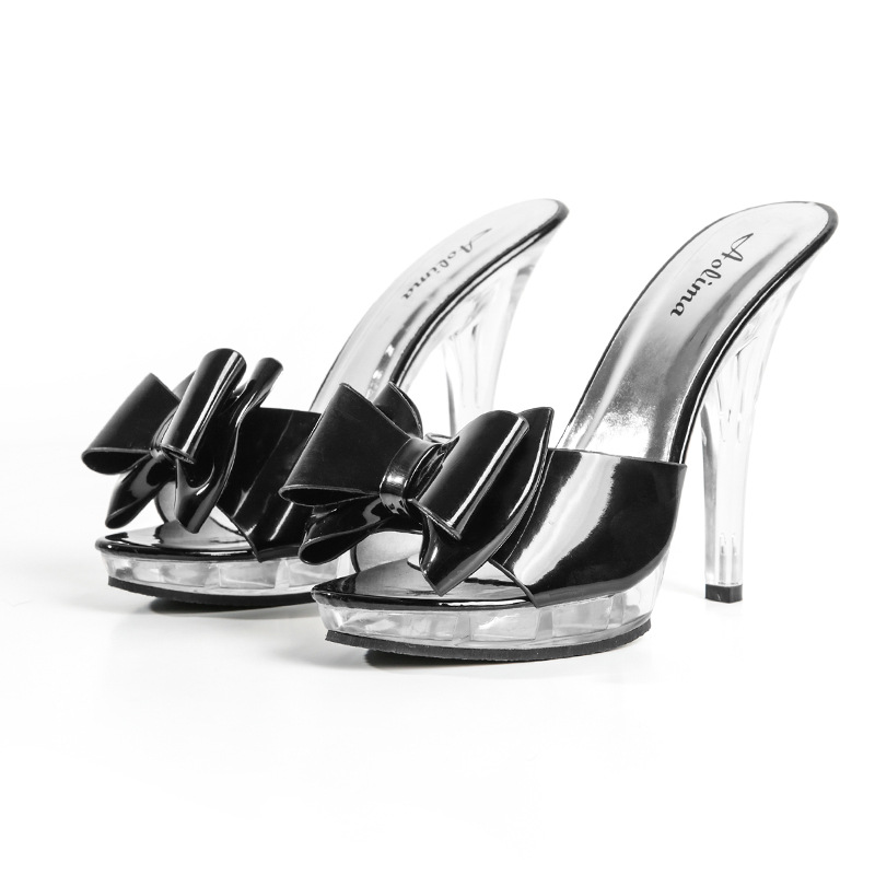 Shoes Woman Slippers 2019 <font><b>High</b></font> <font><b>Heel</b></font> 13CM <font><b>Sandals</b></font> Woman Transparent Crystal Slippers Open Toe <font><b>Sexy</b></font> Slippers Leisure Shoes <font><b>Pumps</b></font> image