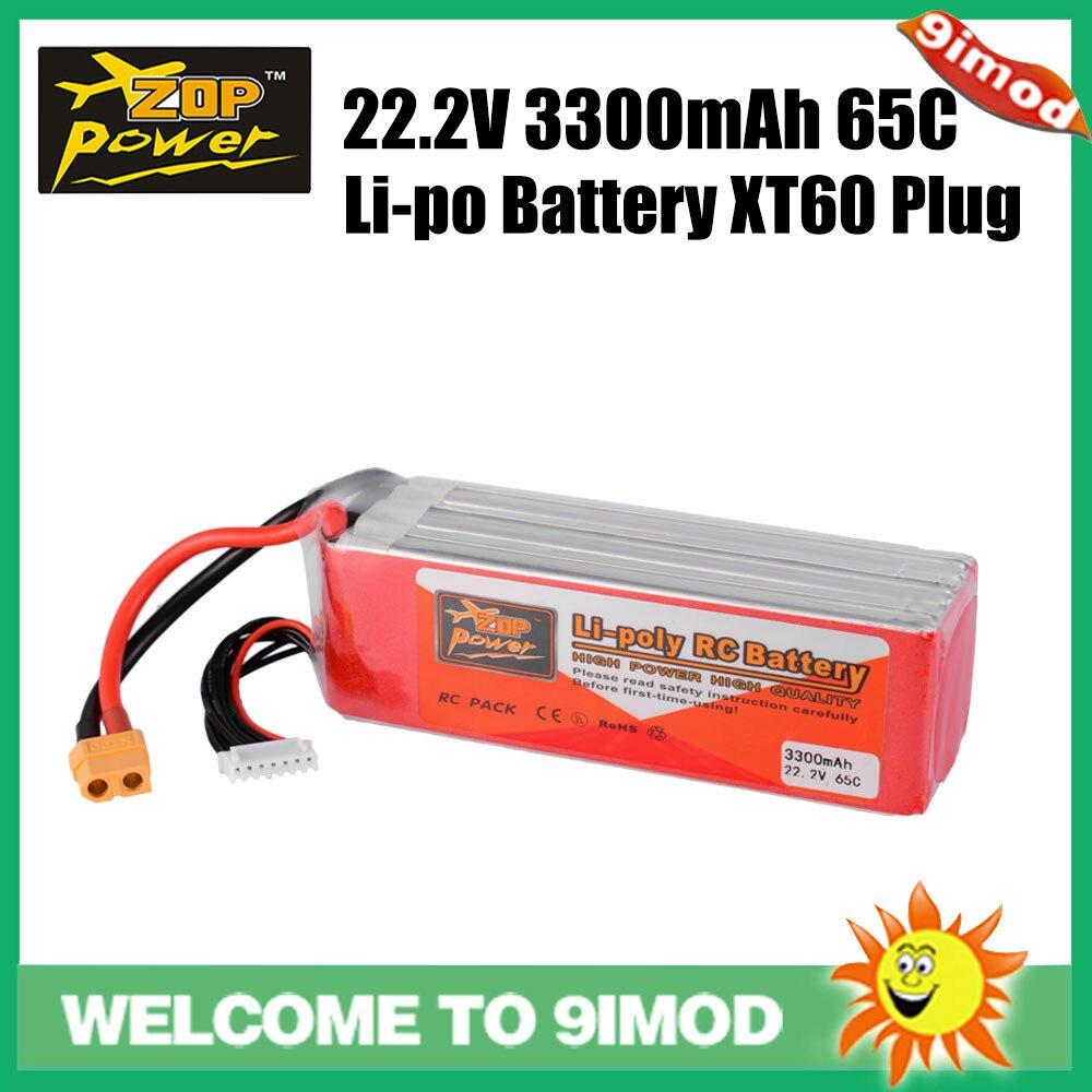 ZOP Power 22.2 V 65C 3300 mAh 6 S Lipo batterie de remplacement batterie XT60 prise pour hélicoptère quadrirotor Drone de voiture de course RC
