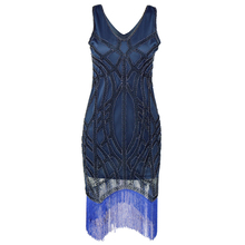 Women 1920s Vintage Dress Art Deco Sequin Great Gatsby Flapper Cocktail Sexy Party Dress Slim V Neck Inspired Beaded Embellished