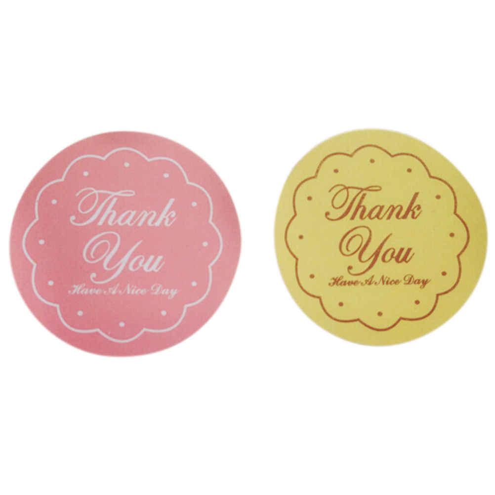 ขอบคุณสติกเกอร์ออกแบบป้ายเหลือง/ชมพูอาหารซีลสติกเกอร์ที่ระลึกสำหรับงานแต่งงานซีลตกแต่ง24ชิ้น/1แผ่น