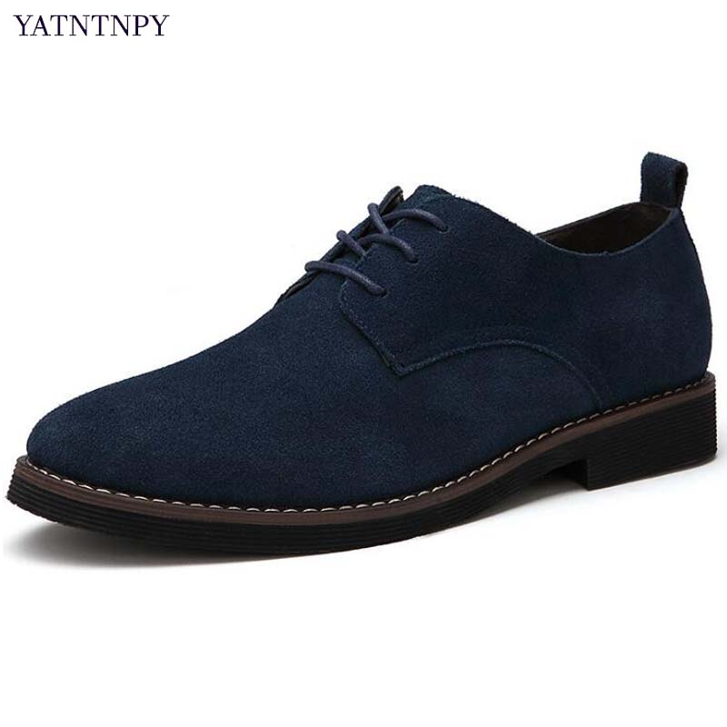 YATNTNPY Men business casual formal dress shoes genuine swede leather oxfords classical lace-up man office shoes plus size new brand designer formal men dress shoes lace up business party oxfords shoes for men pointed toe brogues men s flats plus size