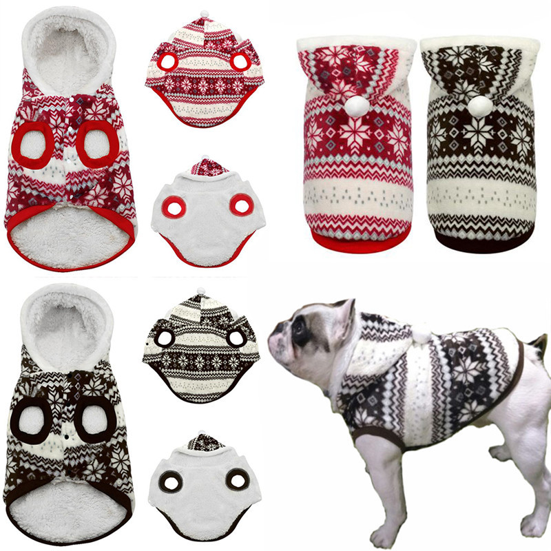 Hot Selling Winter Warm Pet Dog Coat Clothes Cozy Snowflake Christmas Hoodie Sweater Costume Teddy Hoodie Dog Coat Pet Clothing Собака
