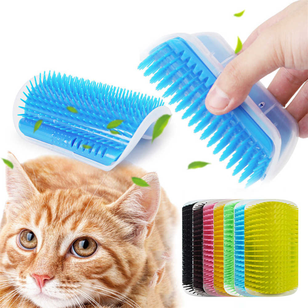 Cat Dog Self Groomer Brush Hair Removal Brush Comb Massage Self Rubs Wall Corner Grooming with Catnip for Pet Product Supplies