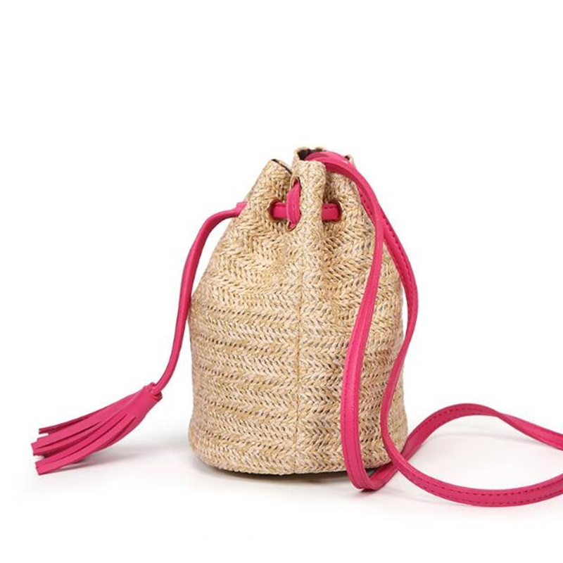 beach bohemian round straw crossbody bucket hobo bags for lady summer  panier plage shoulder rattan messenger bags rieten tas-in Shoulder Bags  from Luggage ... 02ed119fcf226