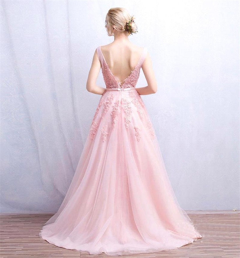 Elegant-Under-50-Long-Tulle-Beaded-Appliques-Pink-Evening-Dresses-2016-Prom-Dress-Robe-De-Soiree (1)