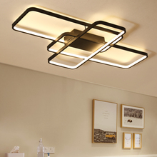 NEO Gleam Remote Controller Modern Led Chandelier For Living Room Bedroom Study Black/White Dimmable Ceiling