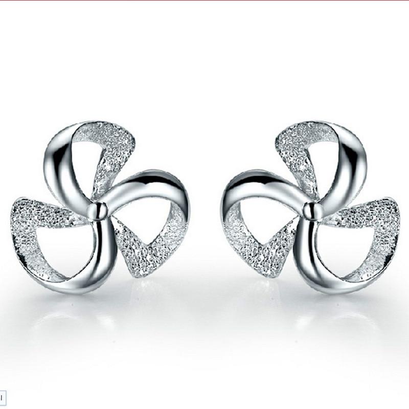 Wholesale Jewelry Silver Plated Plated Crystal Wind Wheel Windmill Shape Ear Stud Earrings Ear Ring ED10