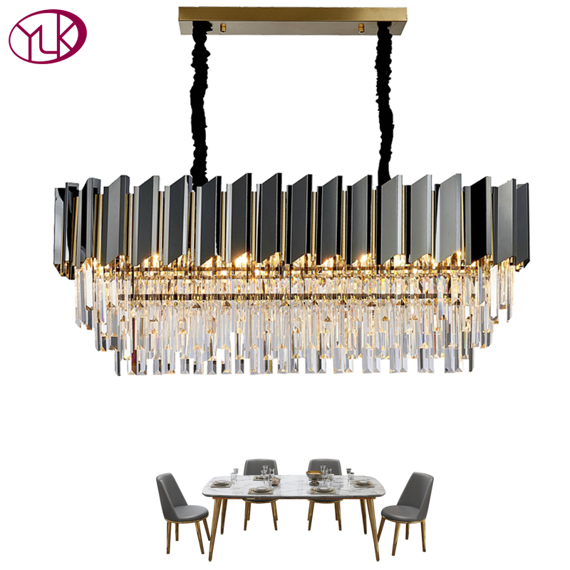 New Modern Dining Room Chandelier Lighting Luxury Rectangle Kitchen Island Crystal Lamps Home Decoration LED Cristal Lamp