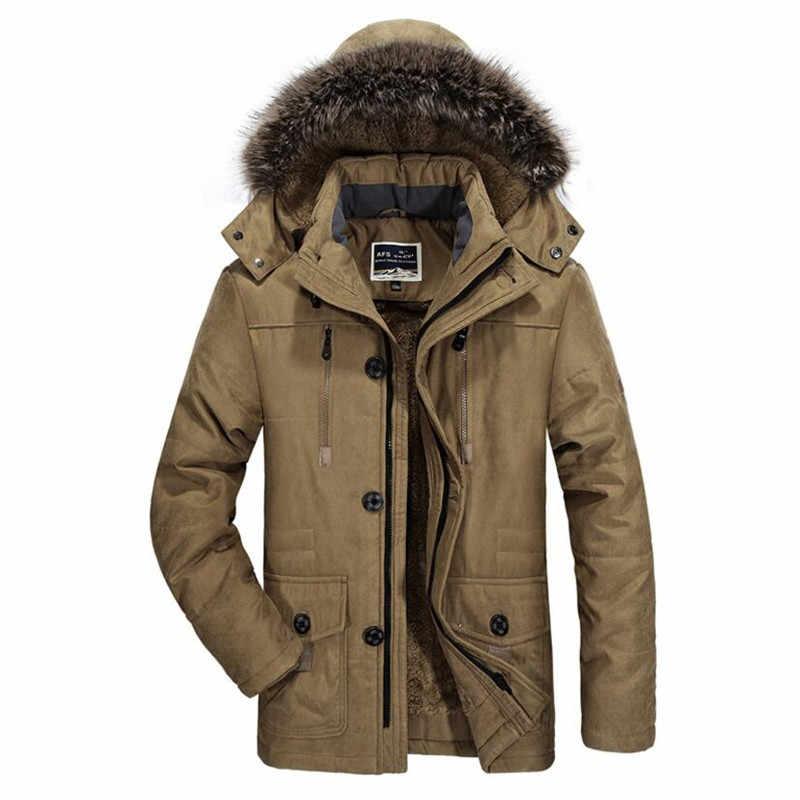 2019 冬厚く暖かいジャケット男性ミリタリーパーカーコートカジュアル毛皮の襟フリースパッド入りベルベットジャケットオーバーコートプラスサイズ 5XL 6XL