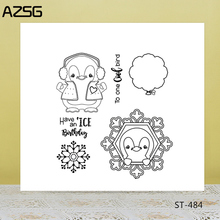 AZSG Snowflake Balloon Lovely Penguin Clear Stamps For DIY Scrapbooking/Card Making/Album Decorative Silicone Stamp Crafts
