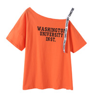 XYCX Primavera Nova Moda Chegada Camisas de T para Mulheres Off ombro Carta Padrão Sexy Camiseta Solta Feminino Casual Tops de Algodão Tee