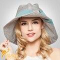 2016 Nuevo Estilo de Base de Medio Rizado con Arco de Algodón Sombrero de Señora de Moda de Verano Del Casquillo Del Sombrero Protector Solar Sombrero de Playa Sombreros para el Sol