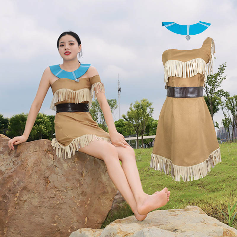 Image 4 - Girls Bueaty Princess Pocahontas Indian Cosplay Costume Halloween Outfit Adult Women gift  Dress Belt Necklace Full set and wig-in Movie & TV costumes from Novelty & Special Use