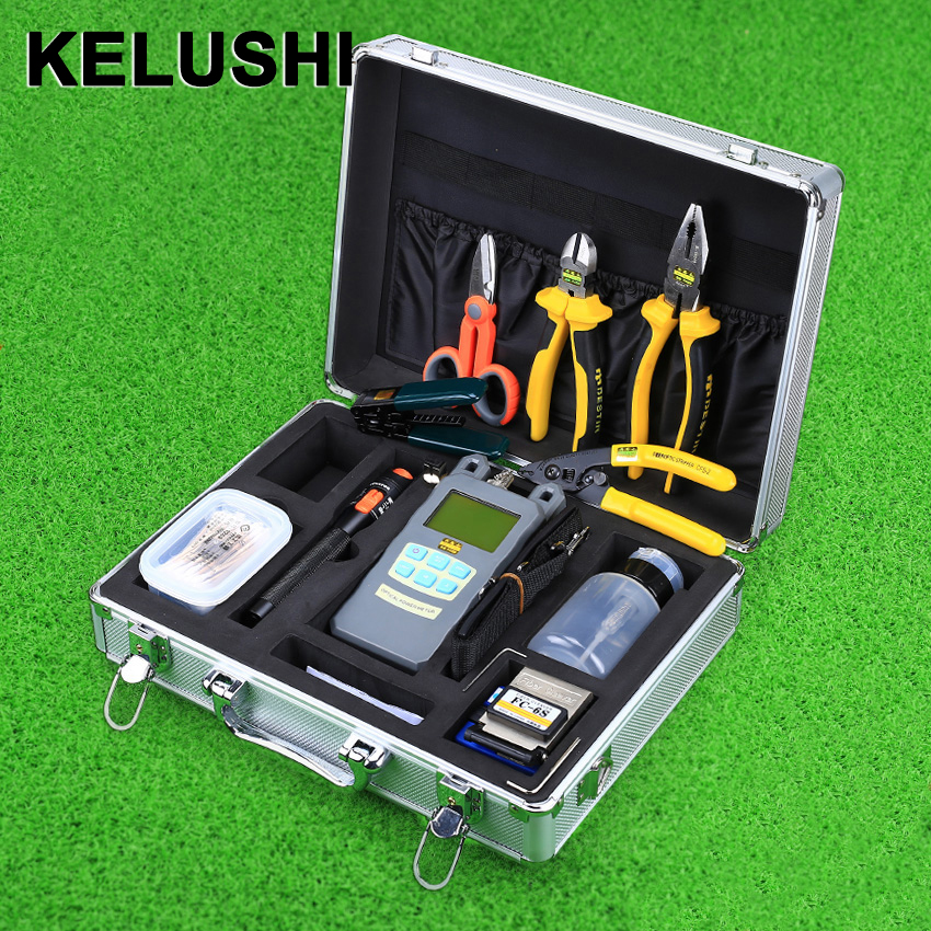 KELUSHI 24 in 1 FTTH Fiber Tool Kit FC-6S Cleaver mit 10 mw Visual Fault Locator Faser Stripper Power Meter wrie Striper
