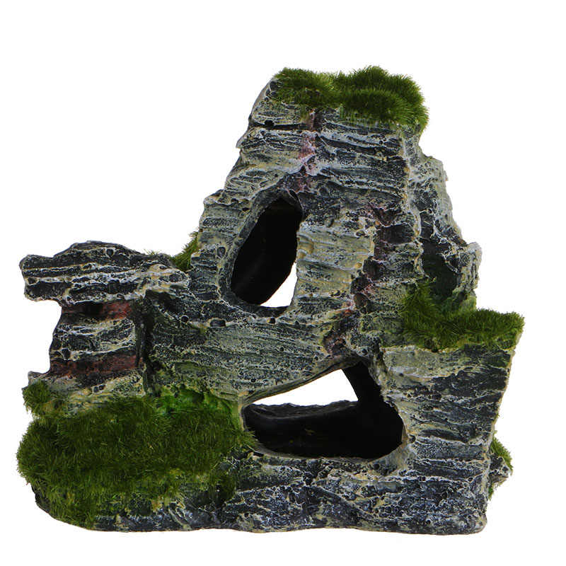 New 1PC Resin Mountain View Fish Tank Cave Moss Bridge Decor Aquarium Rockery Landscape Underwater Ornament