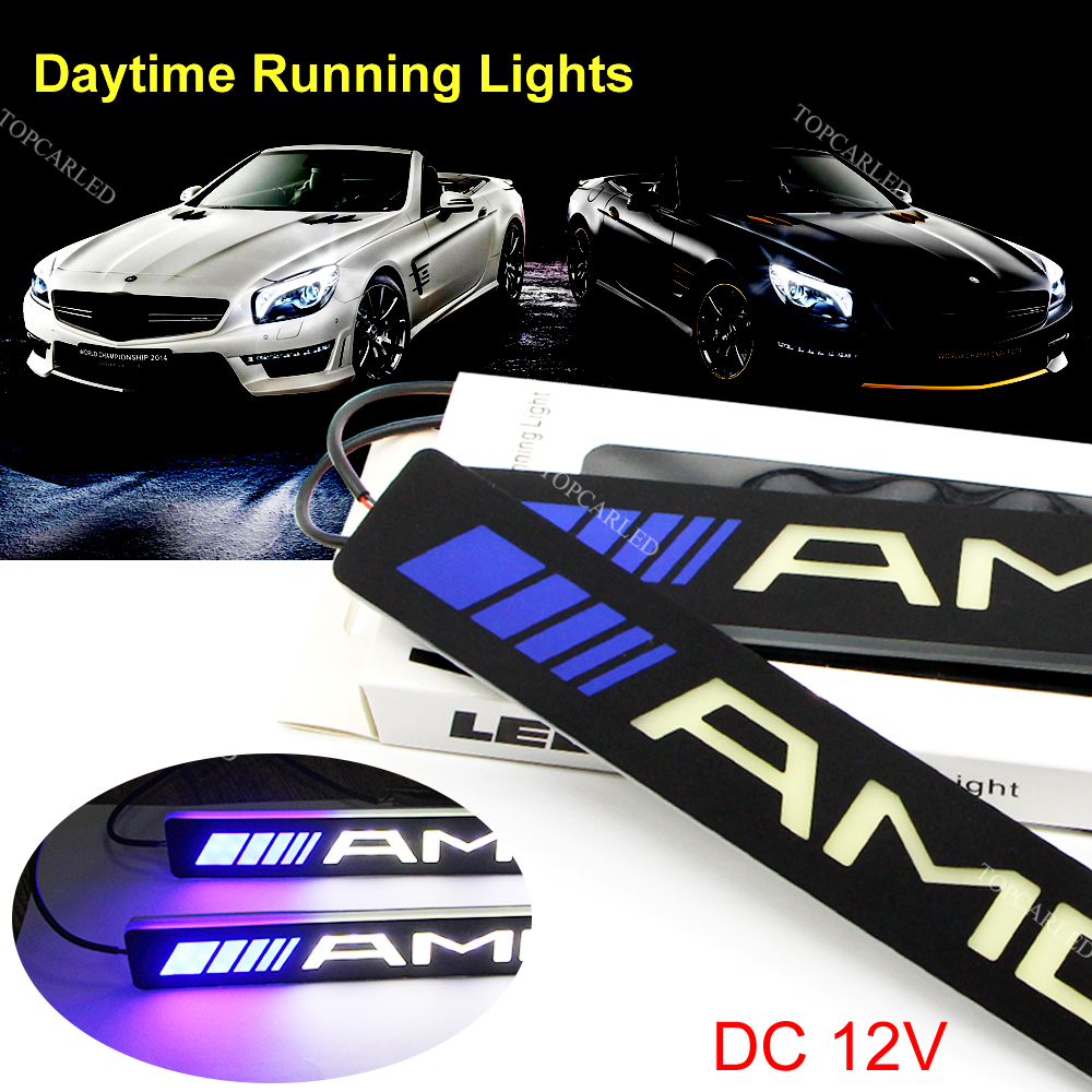 2Pcs LED 12V COB DRL Daytime Running Lights for AMG Super Bright Auto Driving Lamp Soft Silicone Bendable Day Light Car-styling 2pcs square 21cm bendable led daytime running light 100