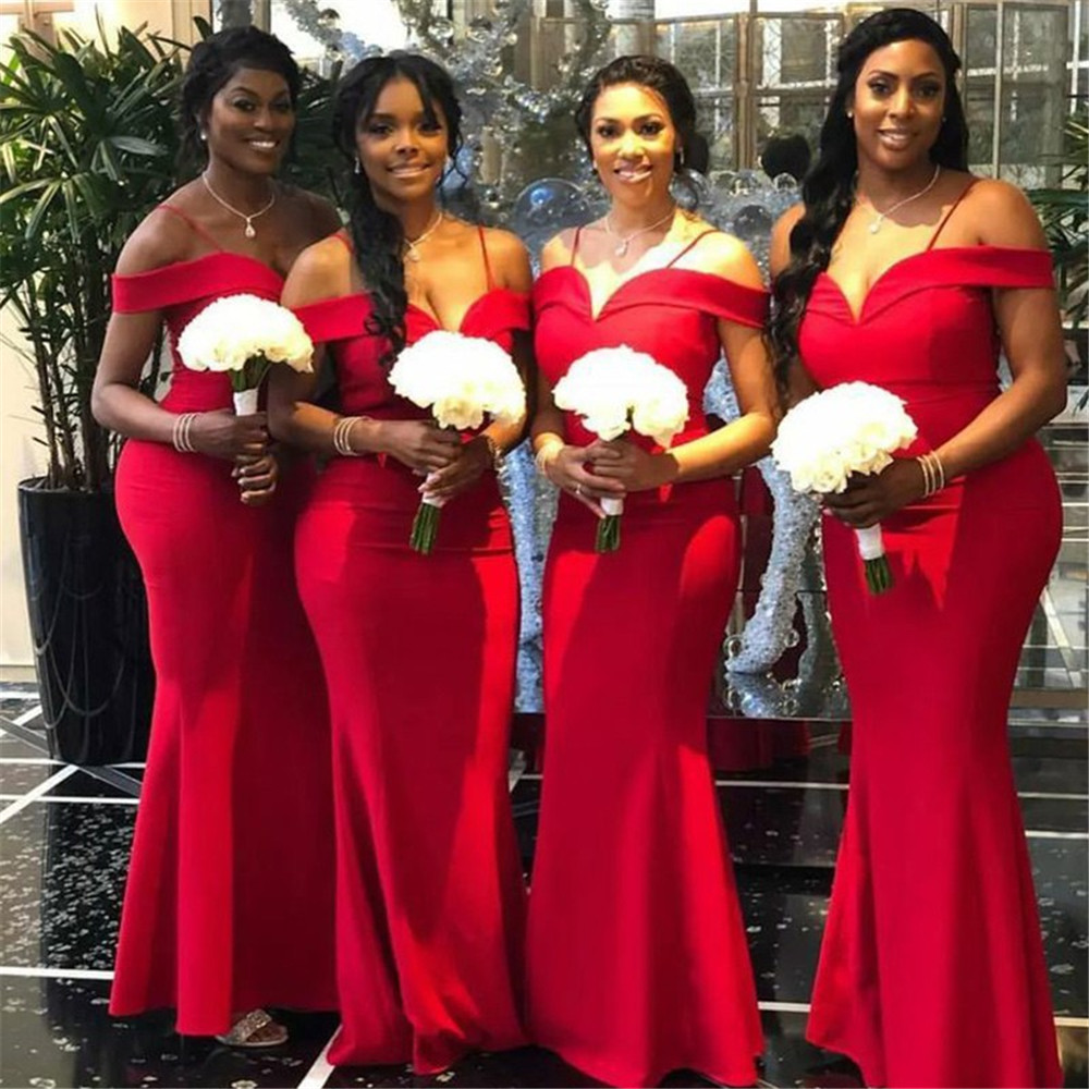 Red Mermaid Long   Bridesmaid     Dresses   2019 Simple Floor Length Spaghetti Strap High Quality Satin Maid Of Honor   Dress   Cheap