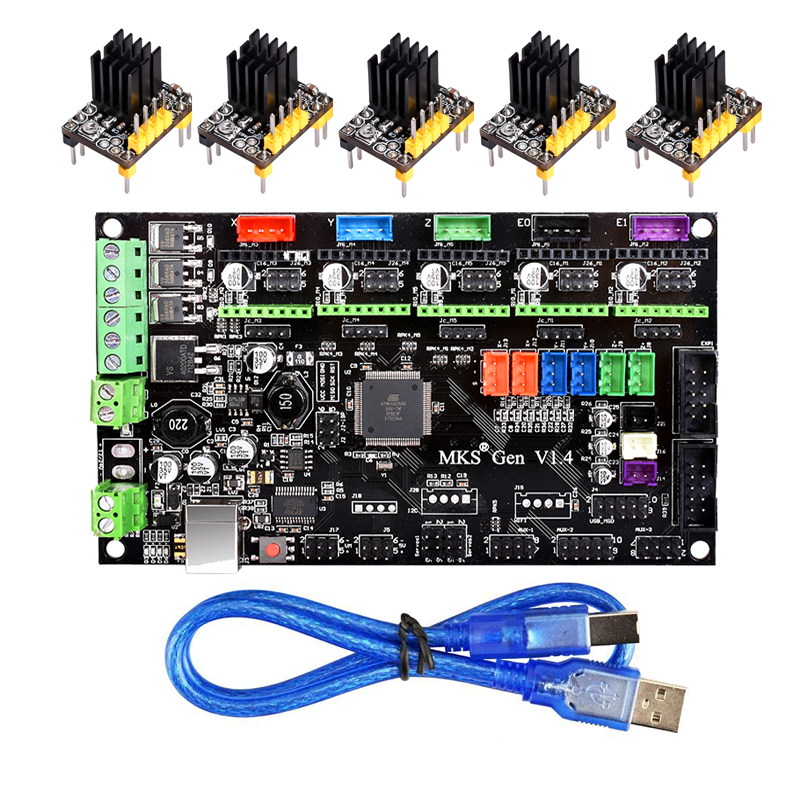 3D impresora MKS Gen V1.4 Control Mega 2560 R3 motherboard RepRap Ramps1.4 + TMC2100/TMC2130/TMC2208/ a4988/DRV8825 conductor