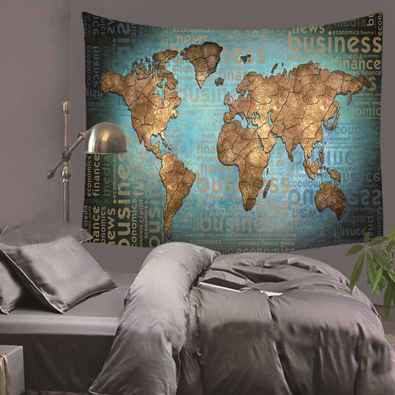 Cilected World Map Wall Tapestry 100% Polyester Fabric Indian Mandala Art Tapestries Wall Hanging Living Room Decor Thin Blanket