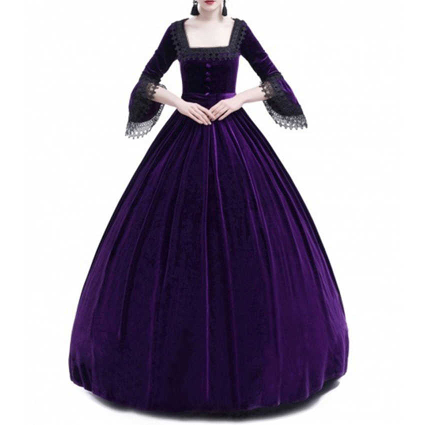 817b4381e6e96 2018 Autumn Women Retro Vintage Long Sleeve High waist Dresses Cotton Renaissance  Victorian Gothic Ruffle Medieval