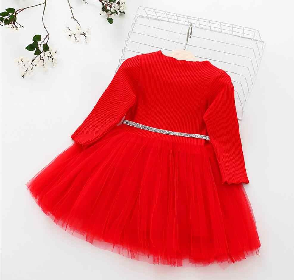 Трикотажное платье с длинными рукавами для новорожденных девочек, роскошный ремень, кружевное платье-пачка, одежда для детей, повседневные модные платья, красный желтый розовый
