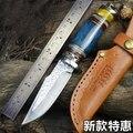 Damasco mestiere della lama di caccia Esterna di strumenti Multi-funzione di modello costardella coltello strumento di stile Nordico tattiche coltello Invia in vera pelle