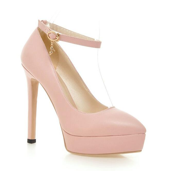 Dousin Partin 2019 女性は Pu レザー女性の靴ポインテッドトゥ超薄型ハイヒールプラットフォームセクシーな女性の結婚式パンプス  グループ上の 靴 からの レディースパンプス の中 3