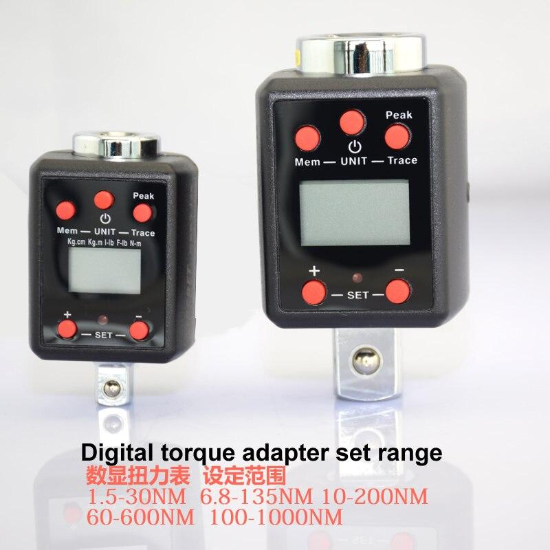 Digital de alta precisión, llave de torque 1,5-1000nm par adaptador profesional torsión herramienta PROVEEDOR DE SERVICIO 1/4, 3/8, 1/2, 3/4
