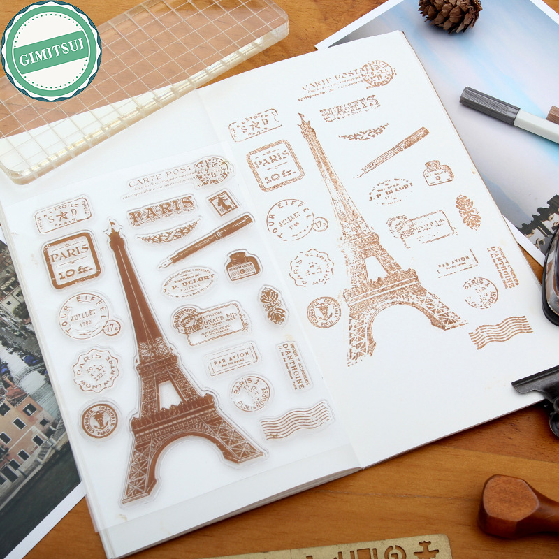 Pairs Eiffel Tower Pen Ink Silicone Clear Rubber Stamps Seal Scrapbooking Album Card Making Decor DIY Craft Diary Photo Paper series s 3d puzzle paper diy papercraft double decker bus eiffel tower titanic tower bridge empire state building
