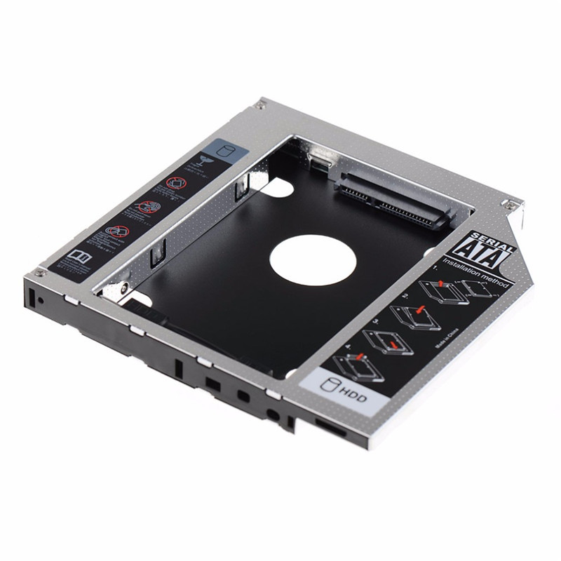 Newest 12.7mm Aluminum Metal Material 2nd HDD Caddy SATA To SATA 2.5 SSD HDD Case for Laptop Asus K53SV ODD DVD/CD-ROM Optibay